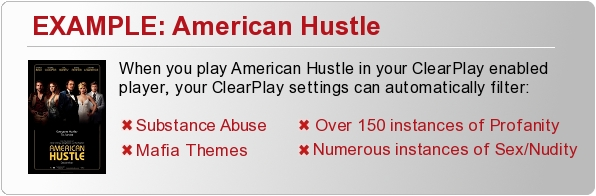 When you insert American Hustle into your ClearPlay DVD Player, the ClearPlay filter automatically removes: Substance Abuse, Intense Mafia Themes, Over 150 Instances of Profanity, and Numerous instances of sex/nudity